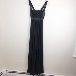 Sky Formal Black Maxi Dress Embellished Prom Med M